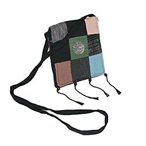 Your Needs Womens Artisan Handmade Patchwork Crossbody Handbag with Elephant Med, Black