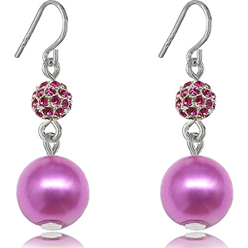 Fashion Purple-tone Drop Pearl Earrings for Women Color Purple (Twisted Wire Ring compare prices)