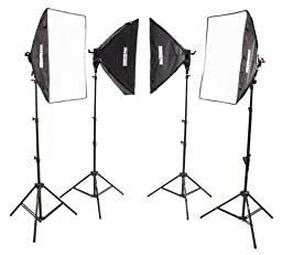 StudioPRO (Set of 4) 6500 Watt Bright Softbox Lighting Kit - (4) AC Power 5 Socket Head, 24\