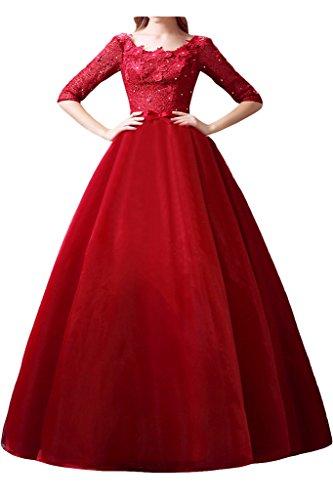 Promgirl House Damen Reizvoll Rot Pronzessin Spitze Ballkleider Abendkleider Lang mit Aermel-52 Rot