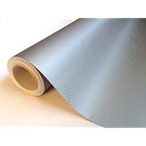 Silver Carbon Fibre 3D Vinyl Roll Full Car Wrap 1.52m x 5m 'Bubble Free'