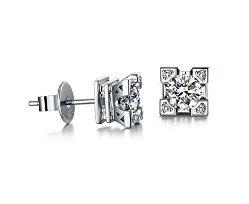 1.00 Carat Ornate Round Cut 6Mm Aaa Cubic Zirconia Eiffel Tower Stud Earrings Fashion Jewelry For Women (Platinum Plated)
