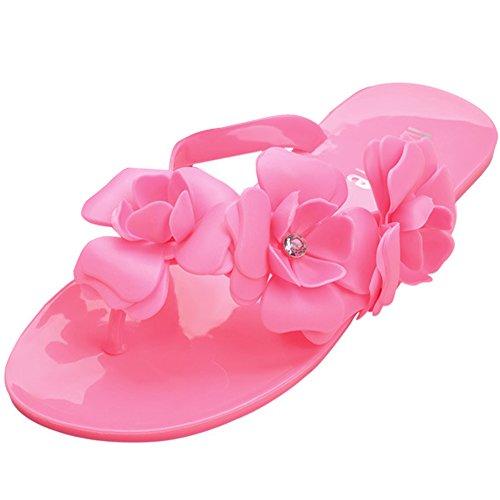 Minetom Donna Camellia Flat Flip Flops Slim Estate Infradito e ciabatte da spiaggia Accessorio Vacanze EUROPE Taglia ( Rose EU 39 )