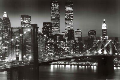 Professionally Framed New York City Brooklyn Bridge Night Skyline Art Poster - 24x36 with RichAndFramous Black Wood Frame
