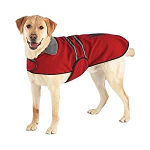 Casual Canine Velvet/Polyester Reflective Dog Jacket, X-Small, 8-Inch, Red