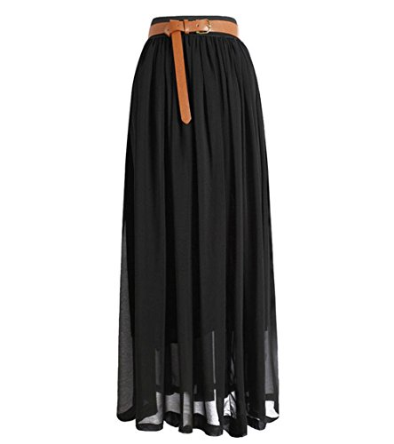 Women Double Layer Chiffon Pleated Long Maxi Dress Elastic Waist Skirt