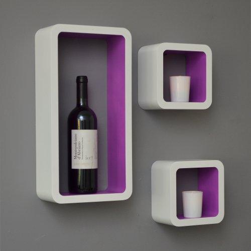 3er Set Lounge Regal Cube Design Bücherregal Retro CD DVD Wandregal Weiß Lila