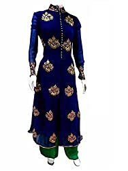 1 Stop Fashion Wear this Eye catching attire and get noticed in your circle. Blue color Georgette top is Attractive Embroidery work. Green santoon bottom and Green Chiffon cotton dupatta is combined perfectly in this dress material. This stylish attire will enhance your charm. Accessories shown in the image are for photography purpose. (Slight color variation is possible)