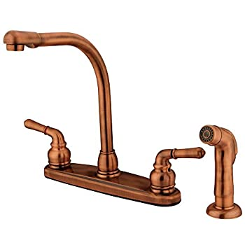 Kingston Brass KB756SP Magellan 8-Inch High Arch Kitchen Faucet with Sprayer, Vintage Copper