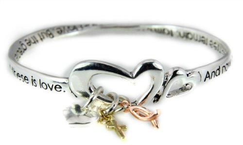 4031469 1 Corinthians 13:13 Twisted Bangle Bracelet Faith Hope Love Christian Scripture Charms