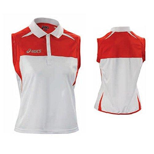 ASICS Polo smanicata tennis junior collo in costina CAROLINE rosso bianco T578Z7