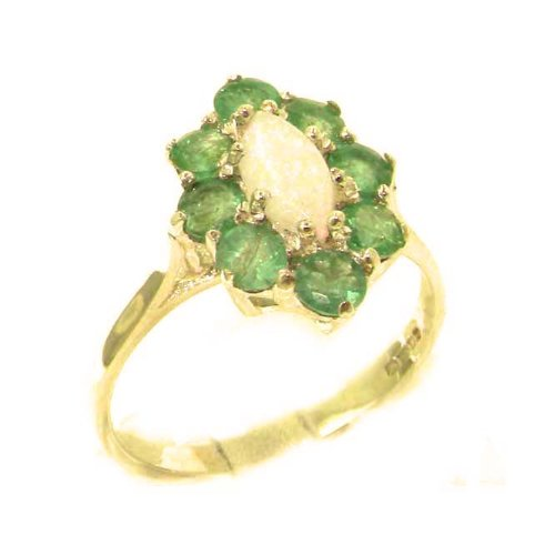 Luxury Ladies Solid British 14K Yellow Gold Natural Opal & Emerald Cluster Ring - Size 9.25 - Finger Sizes 5 to 12 Available - Perfect Gift for Birthday, Christmas, Valentines Day, Mothers Day, Mom, Mother, Grandmother, Daughter, Graduation, Bridesmaid.