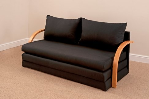 Fold Out Double Foam Sofa Bed Chloe - BLACK