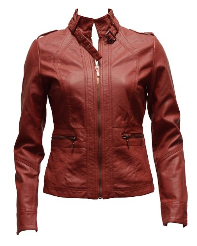 Ladies Plus Size Red Synthetic Leather Jacket Belt Strap Collar