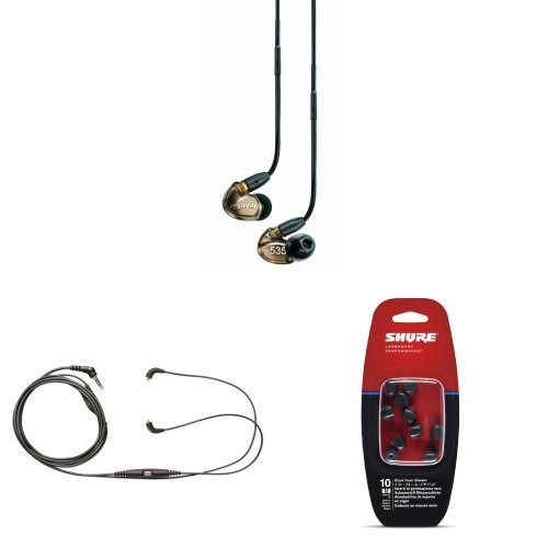 Shure Se535-V Sound Isolating Earphones And Cbl-M-K Music Phone Cable With Remote + Mic (For Android Devices) And Medium Foam Sleeves