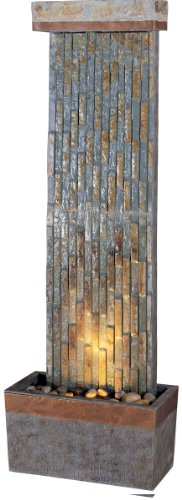 Kenroy Home #50294SLCOP Tacora Vertical Indoor/Outdoor Floor Fountain in Natural Slate Finish with Copper Accents