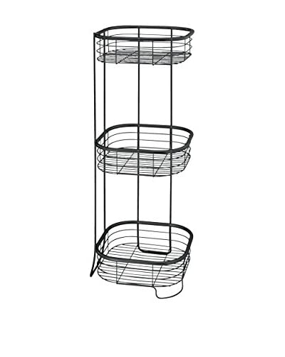 InterDesign Forma Square 3-Tier Shower Shelf, Matte Black As You See