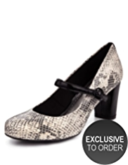 M&S Collection Leather Faux Snakeskin Print Water Repellent Dolly Court Shoes