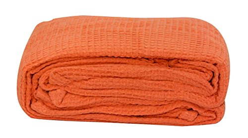 LCM Home Fashions Cotton Thermal Blanket, King, Orange (Lcm Home Fashions Inc compare prices)