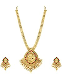 PALASH GRACEFUL GOLD PLATED DESIGNER LONG NECKLACE SET WITH PERAL BEADS AND LORD LAXMI