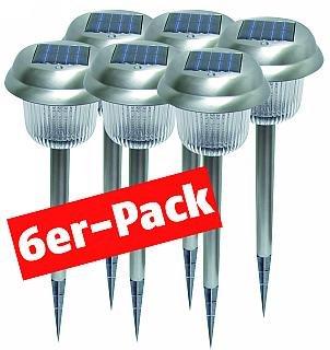 """Solar-Gartenleuchten McShine """"SPL-6P"""", 6er Pack mit Erdspieß, Material: Edel-Sta"""