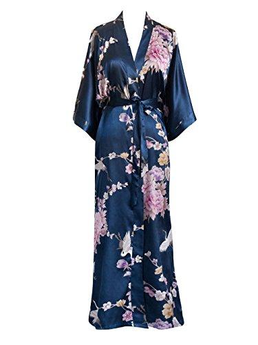 Old Shanghai Women's Kimono Long Robe - Chrysanthemum & Crane