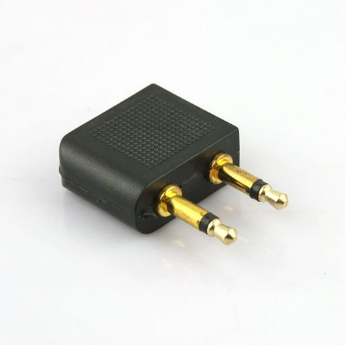 3.5Mm Male To Female Port Airline Aviation Headset Earphone Plug Adapter - Black