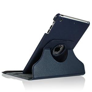 i-Beans【全12色】iPad mini用PUレザーケース アップル アイパッド ミニ ケース 360度回転式 スタンド機能付 PU Leather case for iPad mini (ダークブルー 4152-9)