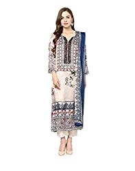 Yepme Women's White Blended Semi Stitched Suit - YPMRTS0342_Free Size
