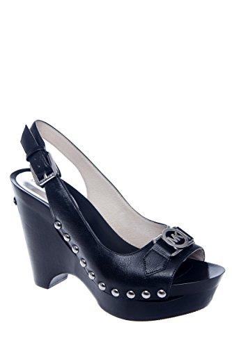 Michael Michael Kors Women'S Charm Sling Black Madras Sandal 6.5 M front-1045099
