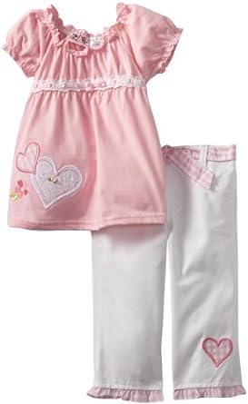 Young Hearts Little Girls' 2 Piece Heart Capri Set, Pink, 4