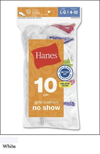 10-Pack Hanes Girl's Red Label Cushion No Show 644/10, White, Large