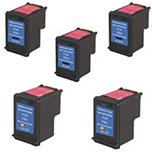 Amsahr Remanufactured Ink Cartridge Replacement for HP C9361WN ( Black,Tri Color , 5-Pack )
