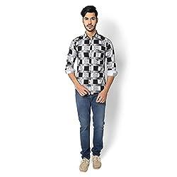 STRAK Mens' Pure Cotton Black & White Blocks Designer Apple Cut Style Shirt With Full Sleeve Size:-XL/44