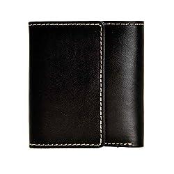 ZLYC Women Minimalism Fashion Handmade Luxurious Leather Bifold Wallet Purse, Black