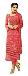 Fashion Bazaar Women's Georgette Unstitched Salwar Suit (Red)