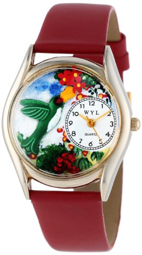 Whimsical Watches Women's C1210003 Classic Gold Hummingbirds Red Leather And Goldtone Watch image