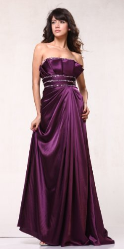 #1611 Purple Satin Strapless Pageant Evening Prom Long Dress