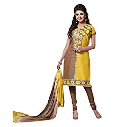 Paridhan Women'S Brown Cotton Embroidered Suit 007