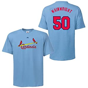 Adam Wainwright St Louis Cardinals Coastal Blue Player T-Shirt by Majestic by Majestic