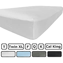 King Size Fitted Sheet Only - 300 Thread Count 100% Egyptian Cotton - Flat Sheets Sold Separately for Set - 100% Satisfaction Guarantee (White)