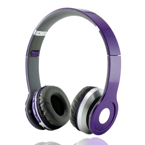 Gearonic Wireless Adjustable Over-Ear Stereo Bluetooth Headphones With Volume And Track Controls For Iphone, Ipod, Mp3 - Non-Retail Packaging - Purple