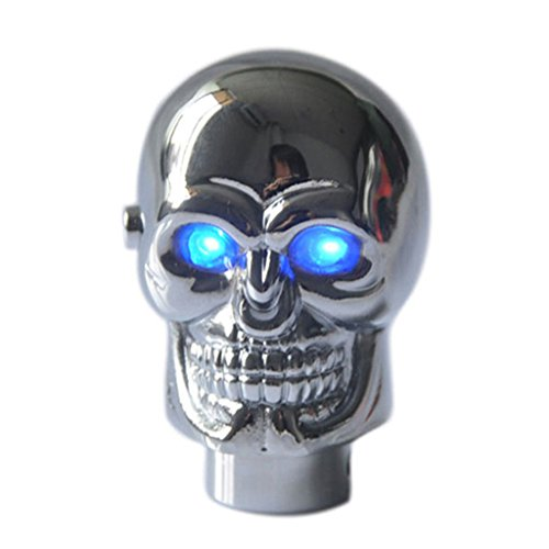 Yucharmyi Gear Shift Knob Blue LED Light Eye Skull Shift Knob Aluminium Alloy Shifting Lever Rod Car Gear Shift Knob (Blue Gear Shifter compare prices)