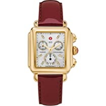 Michele Signature Deco Gold-Plated Diamond Dial Scarlet Patent Leather Mww06p000033 Watch