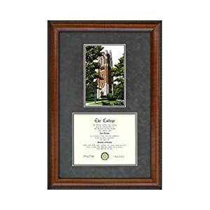 Michigan State University: Beaumont Tower Suede Mat Diploma Frame with Lithograph by Landmark Publishing