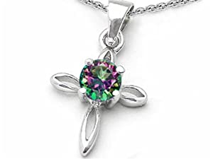 Star K Round Rainbow Mystic Topaz Cross Pendant Sterling Silver