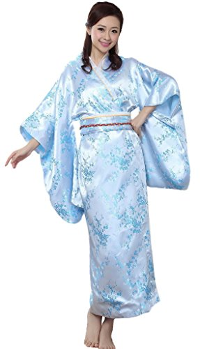 Bigood-Robe-de-Bain-Femme-Imitation-de-Soie-Kimono-Japonais-Long-Fleur-Bleu