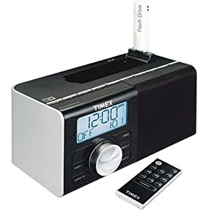 timex dual alarm clock radio for mp3 songs black electronics. Black Bedroom Furniture Sets. Home Design Ideas