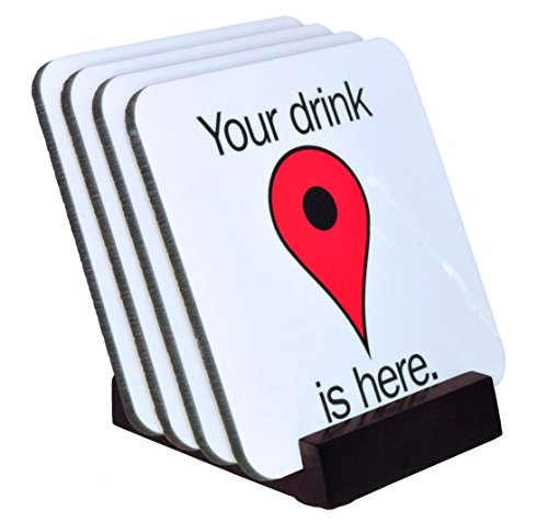google-your-drink-is-here-map-pin-coaster-set-4-piece-hard-top-set-wood-holder-included