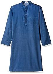 Fabindia Men's Knee-Long Cotton Kurta  (10420442_40_Blue)